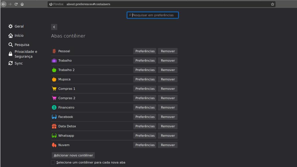 Print Screen da Área de configuração da extensão Multi-Account Containers para o Mozilla Firefox.
